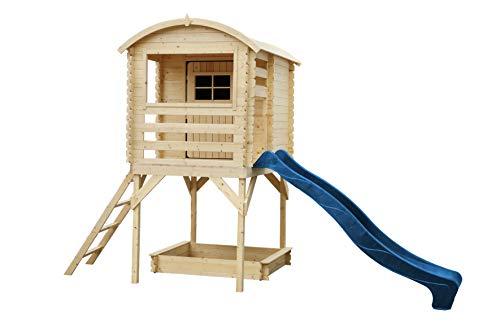 TIMBELA M501F Kleines Haus mit Terrasse - Massiv-Holz - Gartenhaus im Freien - verschachtelt - Dicke 19 mm