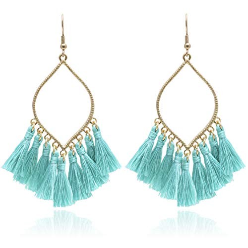 BONALUNA Womens Boho Rhombus Metal Frame with Tassels Dangle Drop Earrings Turquoise