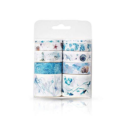 Keleily Cinta washi, 10 rollos cinta adhesiva washi colorida cinta adhesiva decorativa linda, colección para aficionados, tarjetas, álbumes de recortes, artes de bricolaje-Tema del océano
