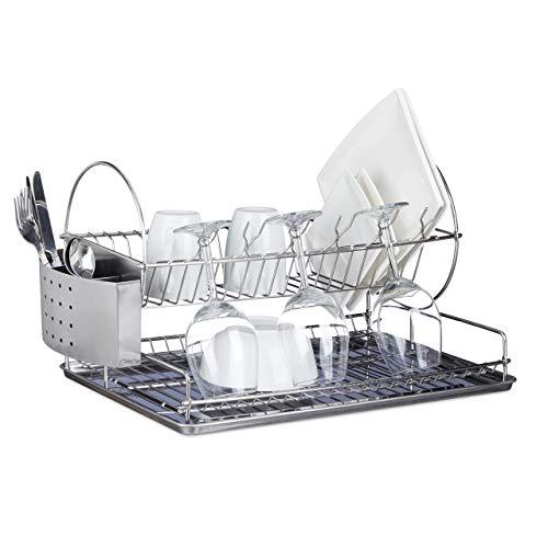 Relaxdays 10020382 Egouttoir à vaisselle en inox avec porte-couverts verre bac amovible eau HxlxP: 29,5 x 51 x 31,5 cm- argenté