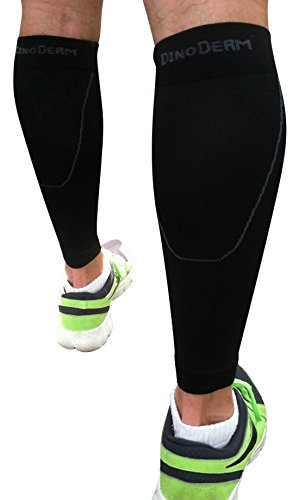 Calf Compression Sleeve by DinoDerm - Treat Shin Splints & Calf Pain - Men's and Women's Compression Leg Sleeves for Running, Jogging, Walking, CrossFit and Fitness Athletes! (2 count = 1 pair)