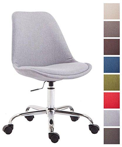 CLP Bürostuhl Toulouse mit Stoffbezug   Schreibtischstuhl mit Laufrollen   Drehstuhl mit Metallgestell in Chrom-Optik   Mit Farbwahl Grau