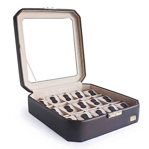 CORDAYS - Scatola Porta Orologi per 15 Orologi con Vetro di Massima qualità Fatta a Mano in Pelle Sintetica - Colore Marrone. CDM-00038