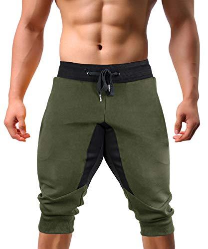 KEFITEVD Pantalones Cortos Deportivos para Hombre, Pantalones Cortos elásticos de Verano 3/4, Pantalones para Correr para Yoga Ejercito Verde