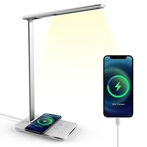 Lampada Da Scrivania Led Con Caricatore Wireless Qi, Lampada Da Tavolo Dimmerabile Con Porta USB Per Caricabatterie, 5 Temperature Di Colore, Controllo Memoria Sensibilità Tattile (white)