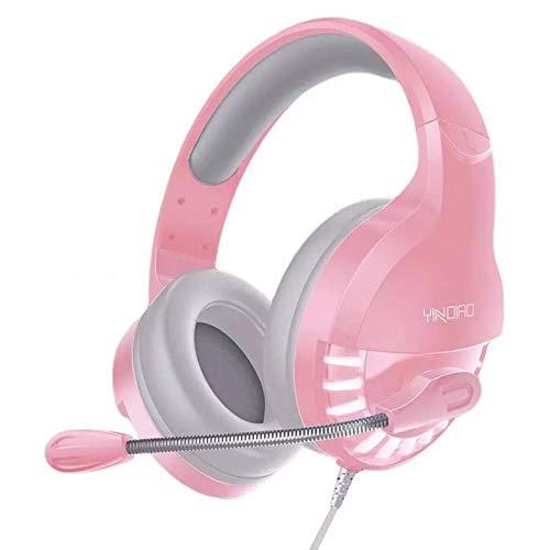 HEHE Profesional Gaming Headset De Auriculares con Cable De Jugador De Auriculares Estéreo De Sonido Auriculares con Micrófono De Luz LED para La Computadora PC Gamer,Rosado,3.5mm USB