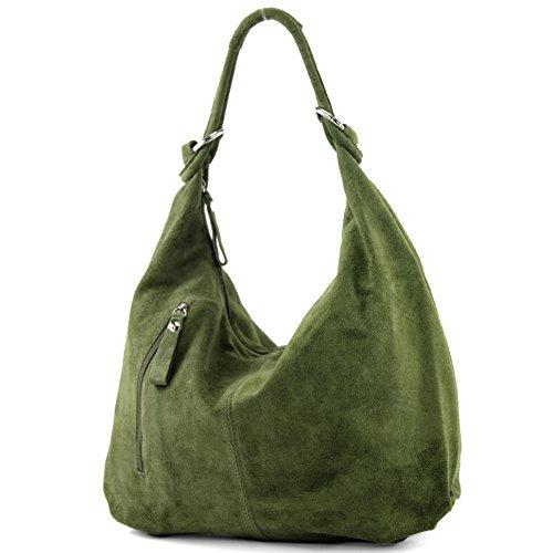 modamoda de - T158 - ital Schultertasche aus Wildleder Leder, Farbe:Olivgrün