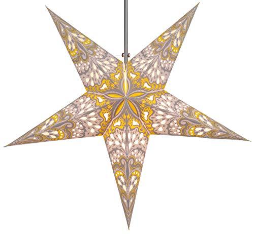 Guru-Shop Faltbarer Advents Leucht Papierstern, Weihnachtsstern 60 cm - Nestor Natur/gelb, Star Fensterdeko, 7 Spitzen