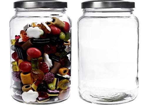 Viva-Haushaltswaren Gabriele Hesse e.K. Einmachglas 2er Set 1,7 Liter mit Schraubverschluss, Vorratsglas, Glasdose inkl. Beschriftungsetiketten (Silber)