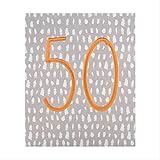 The Hallmark Studio - Tarjeta de felicitación de 50 cumpleaños, diseño de número de papel de cobre