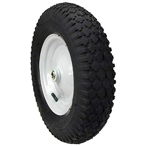 480 Inch x 400 Inch x 8 Inch Wheelbarrow Wheel with 5/8 Inch Bearing, 3 Inch Center Hub and Knobby Tread - Maxpower 335232