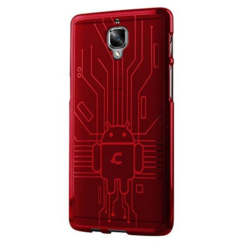 Cruzerlite OnePlus 3 / 3t Case, Bugdroid Circuit TPU Case for OnePlus Three/OnePlus 3/3T - Retail Packaging - Red