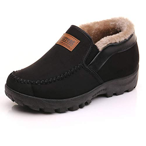 Zapatillas de Estar por casa Hombre Wool Lined Suede Mocasín Forro cálido Invierno,Negro,42 EU,26 CM Talón a la Punta del pie