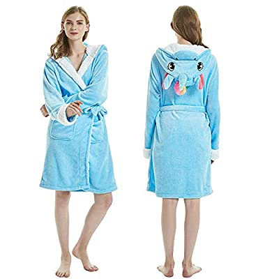 Adult 3D Animal Unicorn Bathrobe Soft Hooded Fleece Plush Pajamas Dressing Suits