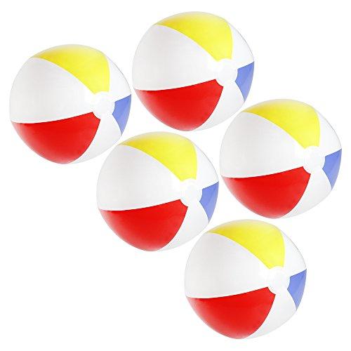 com-four® 5X Wasserball aufblasbar - Strandball wasserabweisend - Beachball für Strand, Pool und Badesee - Badespielzeug - Ø 32 cm (05 Stück)