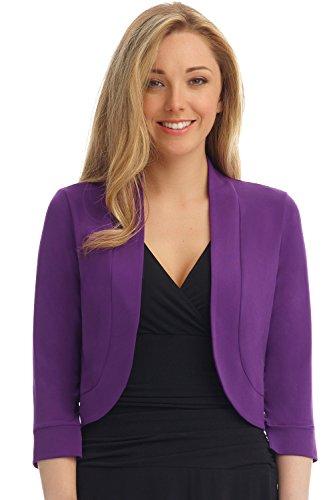 rekucci suave de la mujer Knit redondeados dobladillo elástico Bolero Shrug - Púrpura -