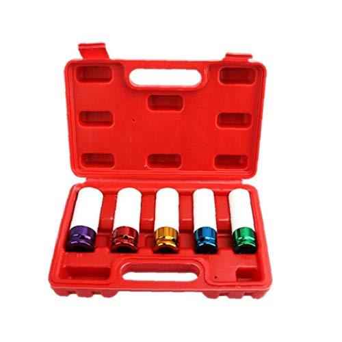 Tuerca de llaves de vaso hexagonal Vástago Kit Rojo punta de destornillador de impacto perno de acero de la manga de la rueda de neumático del coche de removedor Taladro de mano 5PCS