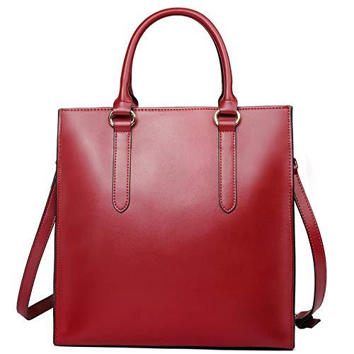 FLHT, Damen Handtasche, Leder Big Bag Große Kapazität Aktentasche Messenger Bag Schultertasche Reisetasche Tägliche Aufbewahrungstasche Eimer Tasche,Red-OneSize