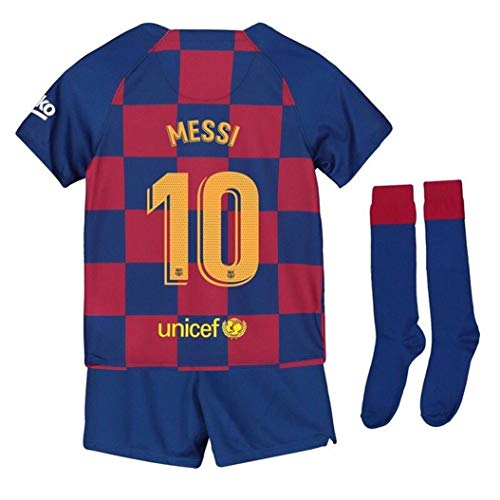 LISIMKEM Lionel Messi #10 2019-2020 Kids/Youths Home Soccer Jersey/Short/Socks Colour Blue/Red (10-11years/size26)