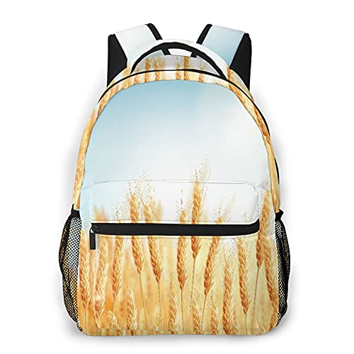 SXCVD Zaino casual,Campo di grano dorato raccolto blu e pane di cereali d'orzo,Zaino per laptop da lavoro,Zaino da viaggio per escursionismo per uomo,donna,adolescente