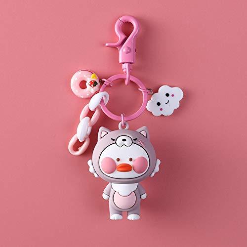 xinyawl Llavero Unique Duck Baby Doll Colorful Llaveros para Mujeres Chica Bonita Cadena Creativa Mini Colgante Llaveros Divertido Mochila Accesorios Pink
