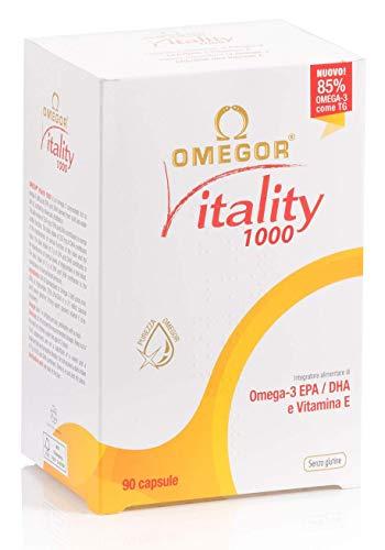 OMEGOR Vitality 1000 - NUOVO con 85% di Omega-3 TG! Certificato 5* IFOS dal 2006. EPA 500mg e DHA 250mg per perla. Struttura min. 90% Trigliceridi e distillazione molecolare, 90 cps
