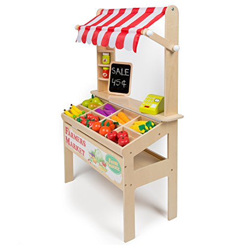 Wooden Farmers Market Stand - Kid's Playroom Furniture Grocery Stand for Pretend Play (30+ Pieces) - Includes Fruit, Chalkboard, Chalk, and Cash Register