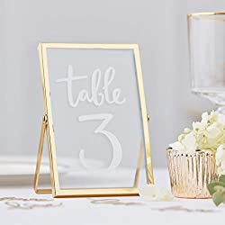Included components: Frame measures: 15cm (H) x 10cm (W) x 1cm (D) Beautiful gold freestanding photo frame perfect to use as table numbers at your wedding or for decorating your home Gold freestanding photo frame 15cm (H) x 10cm (W) x 1cm (D) - pack ...