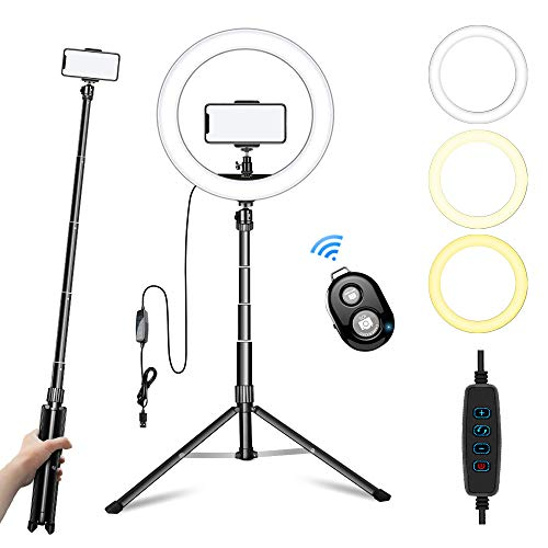 Ring Light with Stand and Phone Holder,10' Led Camera Ringlight for Live...