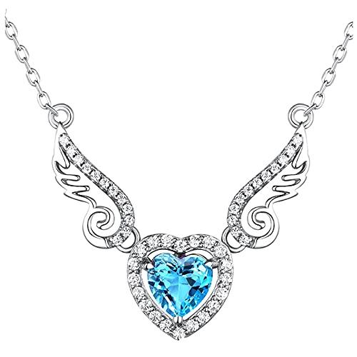 Collar de mujer con alas de amor, ideal para uso diario o para el tiempo libre., talla única, Aleación,