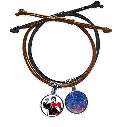 Bestchong Red Book Backpack Hat Study China Red Bracelet Rope Hand Chain Leather Starry Sky Wristband