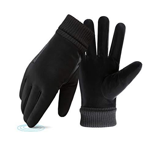 ELCM Gants d'hiver Chaud Gants Tactiles Sport, pour Anti-dérapant pour Extérieur Windproof Etanche Cyclisme Chasse Escalade pour Homme Femme (Noir)