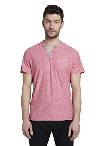 TOM TAILOR Herren Kurzarm Henley T-Shirt, 21959-red White fine Strip, XL