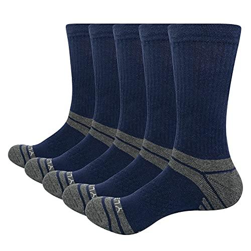 YUEDGE Calcetines Algodon Hombre Gruesos Invierno Deportes Termicos Senderismo Trabajo Calcetines Negro 5 Pack L