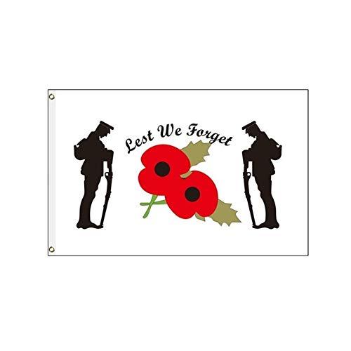 PITCHBLA 5 x 3FT Damit wir Nicht die Mohnblumen-Gedenktags-Soldaten-Armee-Flagge vergessen, 100 Polyester mit Ösen-Flaggenbanner für die Straßendekoration der Pub Club School