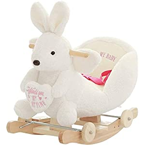 Rocking Horse rocking chair Rocker Ride-ons Chair Rocking Horse Wooden Baby 2 In 1 Dual Use Plush Rocking Horse With Wheels Toy For1-4 Years Child Rocking Horse Baby Rocker Animal Rocker Nursery Seat