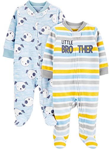 Simple Joys by Carter's Boys' 2-Pack Fleece Footed Sleep and Play, Little Brother/Dog, 0-3 Months