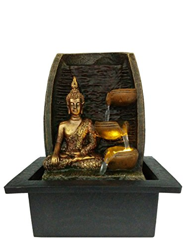 Bibiana Golden Buddha with Water Cups and LED Light Indoor Water Fountain 21cm x 18cm x 25cm