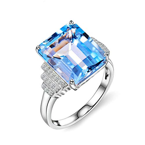 Adisaer Gold Jewelry for Women 18K Rings,Ring for Mom Elegant 18K White Gold Women Ring White Gold Anniversary Ring 7.8CT Topaz and 0.12CT Diamond Size H 1/2