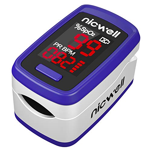 Nicwell Fingertip Pulse Oximeter,SpO2 Pulse Oximeter with Accurate Fast Reading and Large LED Display,Finger-Clamps Blood Oxygen Saturation Monitor with Lanyard,Royal Blue