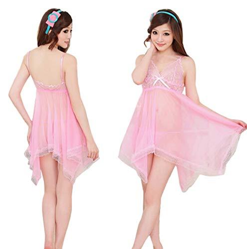 Sexy Femmes Lingerie Erotique Dentelle Arc sous-VêTements Temptation Babydoll Sleepwear Dress Set Robe G-String De Nuit Transparent Ensembles De Lingerie
