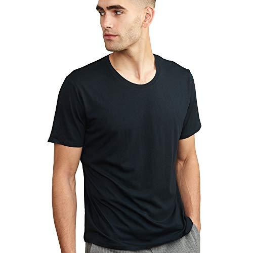 Camiseta para Hombre, Cuello Redondo o en Pico, Ligera, Transpirable y Suave, Manga Corta, Pack de 1 (Cuello Redondo - Negro, L)