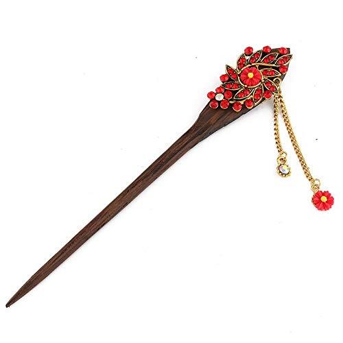 Kentop Barrette à cheveux en bois de santal fait main accessoire à cheveux 16 cm rouge