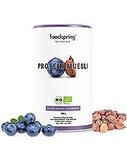 foodspring Muesli Proteico, 360g, Arándanos y chufas, Ingredientes 100% orgánicos, Garantizado vegano y sin lactosa