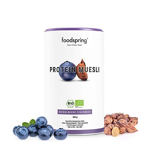 Muesli protéiné foodspring, Myrtille et amande de terre, 360g, ingrédients 100 % bio, recette végane et sans lactose