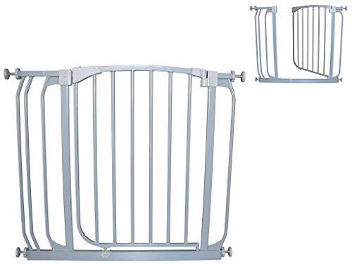 Türgitter Türschutzgitter Treppengitter Treppenschutzgitter 72,5-137,5cm von grau BabyLuca zum Klemmen ohne Bohren Autoclose Einhandbedienung (72,5-83,5cm)