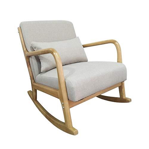 ZMALL - Silla mecedora, reclinable, cojín grueso acolchado y almohada de cintura