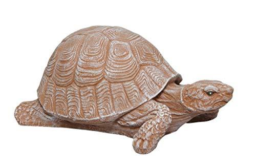 Tiefes Kunsthandwerk Steinfigur Schildkröte Steinguss Terrakotta, Deko, Figur, Garten, Stein, frostsicher