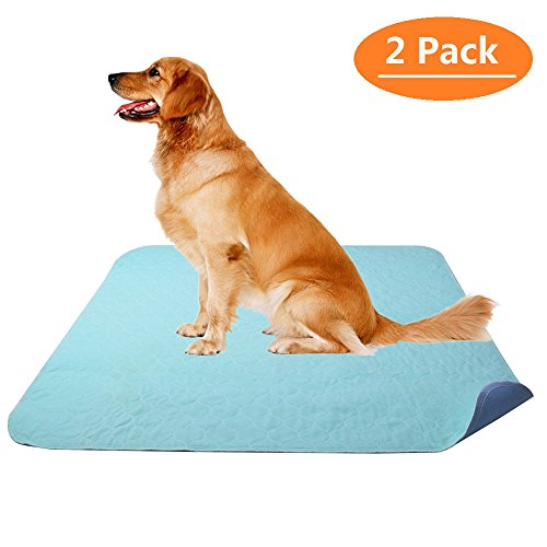"KOOLTAIL Washable Pee Pads for Dogs - Waterproof Dog Mat Non-Slip 2 Pack 36"" x 41"" Whelphing Pad Puppy Training Pad for Dog Playpen"