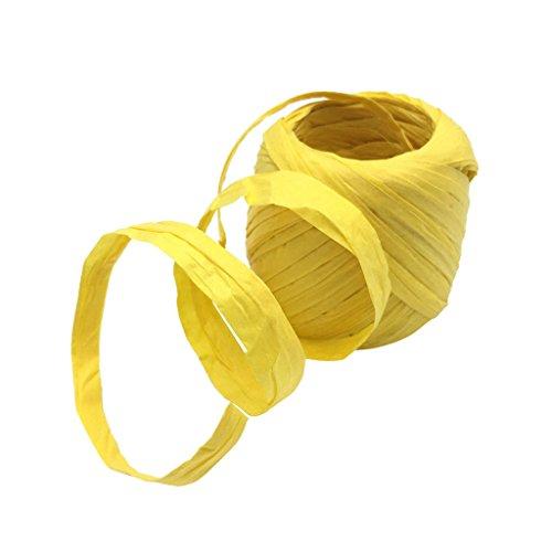 Dolity 20 Meter Papierschnur Geschenkpapier Bastelschnur Dekoband Papierband Naturbast Raffiabast Bast Geschenkband Basteln Verpacken - Gelb